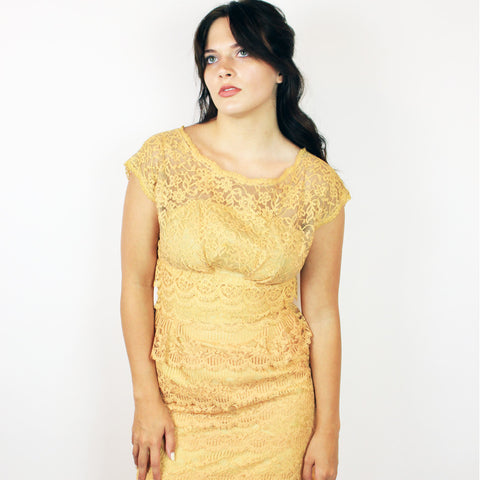 1950s Peach Lace Dress (M)