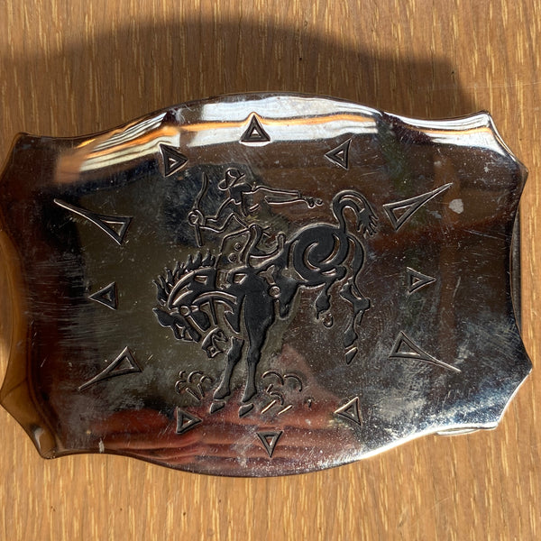 Vtg. Etched Bucking Broncho Buckle