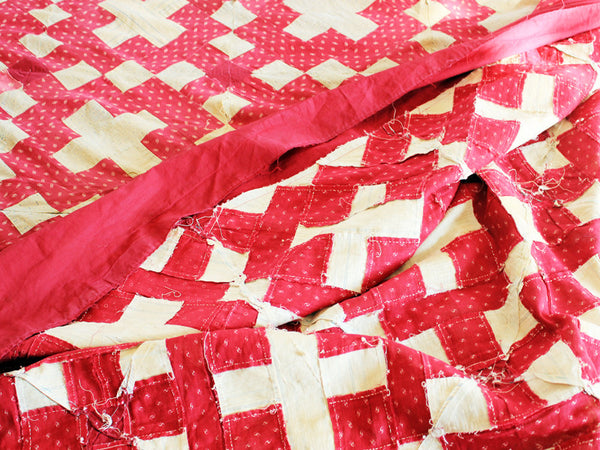 Vtg. Red Square Quilt Topper