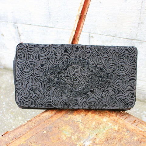 Vtg.Black Embroidered Saturn Pattern Clutch