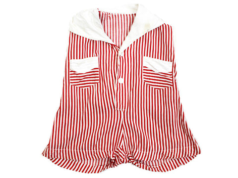 1940s Red Striped Playsuit