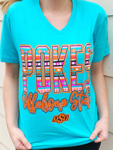 Turq. OSU Pokes V-Neck T-shirt