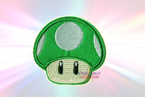 1UP Green Mushroom (Super Mario) Embroidery Iron on/Sew on Patch (7.6cm x 7.6cm)-Cool Spot's Gaming Emporium-Cool Spot Gaming