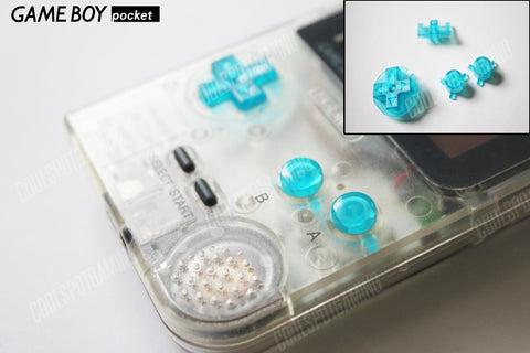 Game Boy Pocket Replacement Buttons - Clear Electric Blue