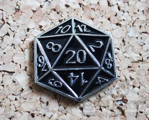 D20 (D&D) Dungeons and Dragons Dice - Pin Badge