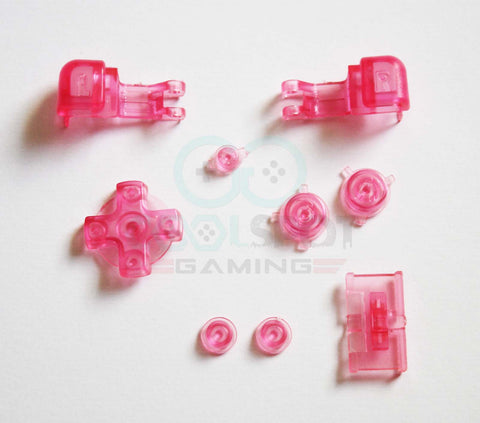 Game Boy Advance SP (GBA SP) Replacement Full Button Kit - Clear Pink