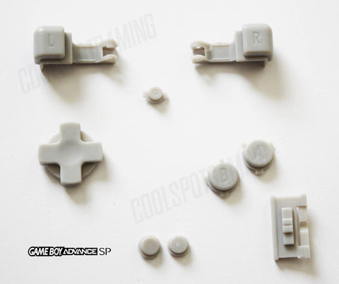 Game Boy Advance SP (GBA SP) Replacement Full Button Kit - Grey