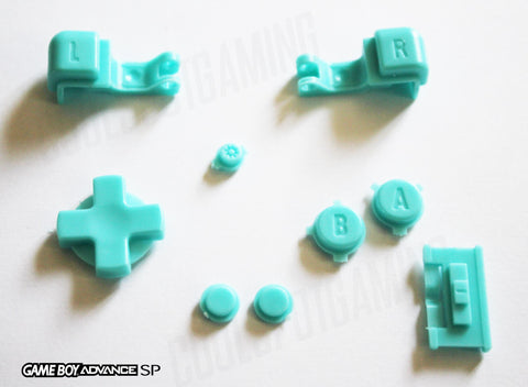 Game Boy Advance SP (GBA SP) Replacement Full Button Kit - Baby Blue