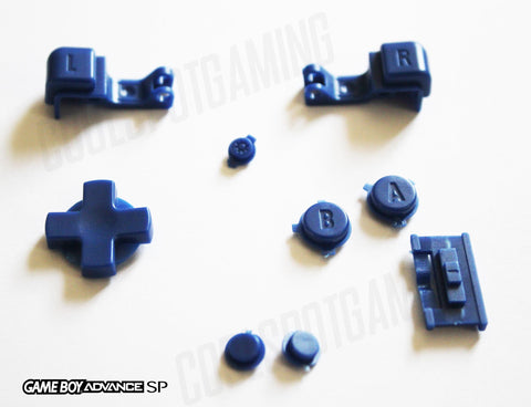 Game Boy Advance SP (GBA SP) Replacement Full Button Kit - Blue