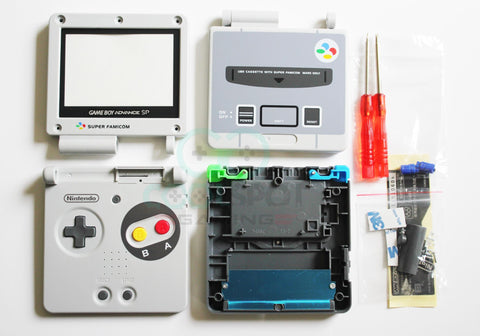 Game Boy Advance SP (GBA SP) Replacement Housing Shell Kit (Style #2) - Famicom/SNES