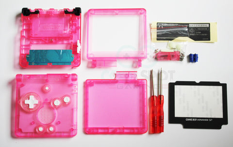 Game Boy Advance SP (GBA SP) Replacement Housing Shell Kit - Clear Hot Pink