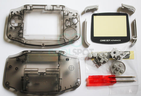 Game Boy Advance (GBA) Complete Replacement Housing Kit - Clear Smoke Black