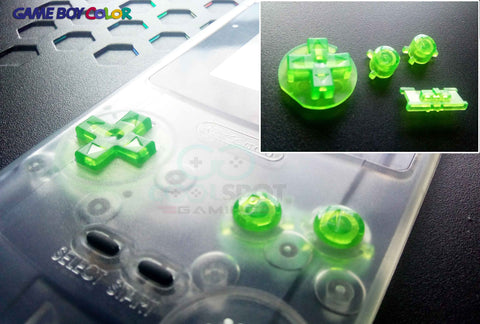 Game Boy Colour GBC Replacement Buttons - Clear Green