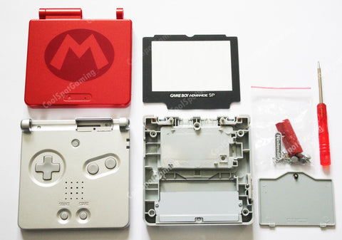 Game Boy Advance SP (GBA SP) Replacement Housing Shell Kit - Mario 'M'