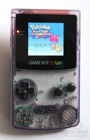 Game Boy Colour LCD Backlight Console - Adjustable Brightness - Clear Purple & Black Buttons
