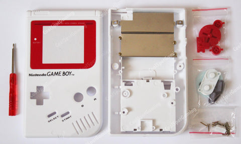 Original DMG Game Boy Console Replacement Housing Shell Kit - Red and White
