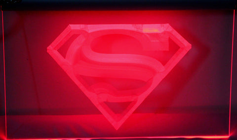 "Superman Neon Light Sign 3D Engraved (Size 12"" x 9"")"