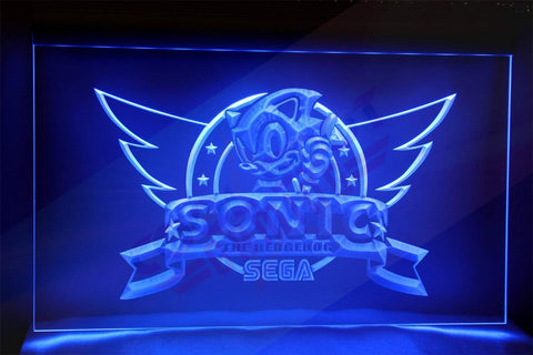 "Sonic the Hedgehog Neon Light Sign 3D Engraved (Size 12"" x 9""/ 30cm x 22cm)"