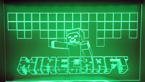 "Minecraft 'Steve' LED Neon Light Sign 3D Engraved (Size 12"" x 9""/ 30cm x 22cm)"