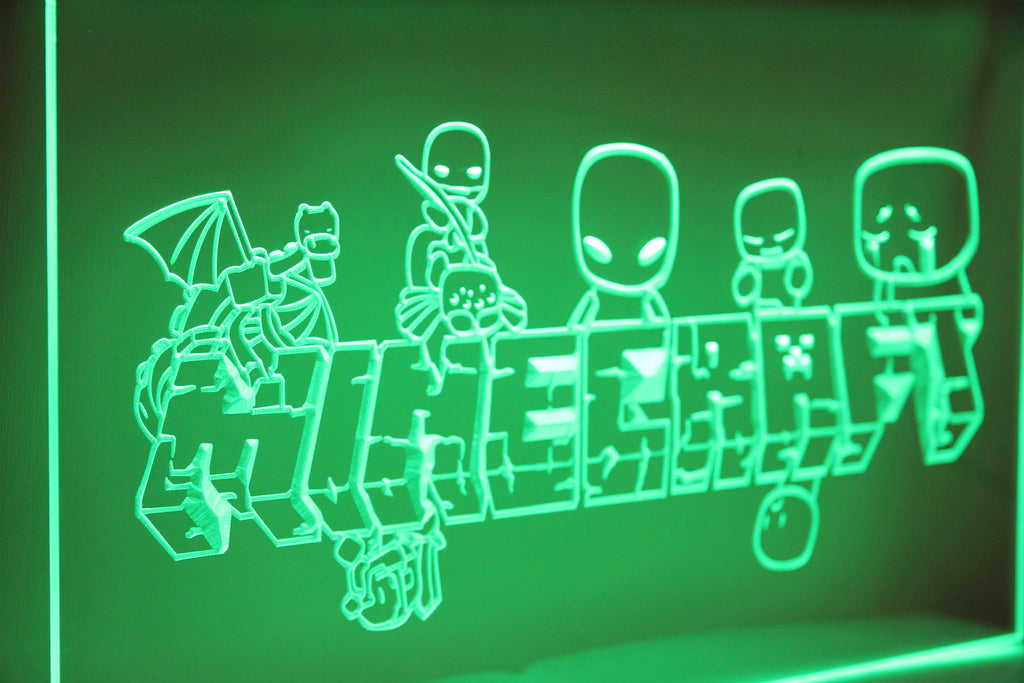 Minecraft Character Logo LED Neon Light Sign 3D Engraved