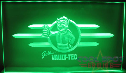 "Fallout Pipboy 'Join Vault-Tec' Neon Light Sign 3D Engraved (Size 12"" x 9""/ 30cm x 22cm)"