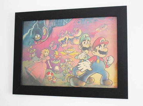 Vintage Style A3 Poster - Super Mario Bros Action Scene