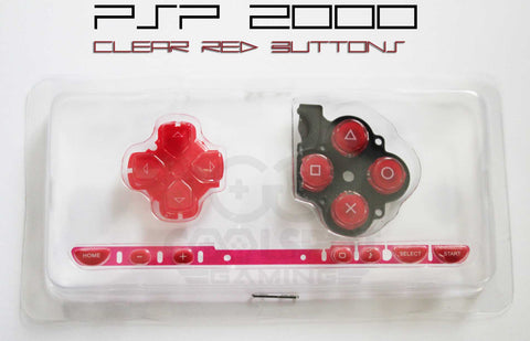 PSP 2000 Replacement Clear Red Button Set