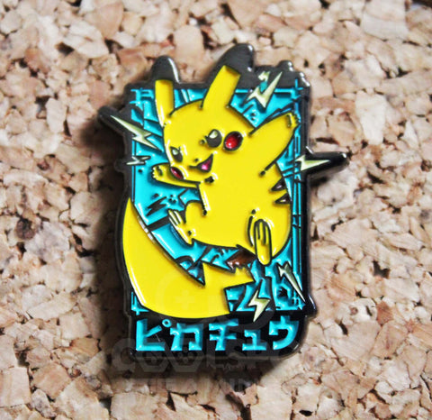 Pikachu Thunder Shock Japanese Pin Badge