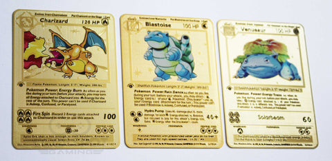 Blastoise, Charizard and Venusaur Trio Gold Metal Pokemon Cards