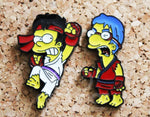 Simpsons Street Fighter Cross Over - Bart/Ryu & Milhouse/Ken - Pin Badge Set