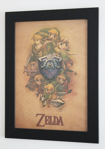 Vintage Style A3 Poster - The Legend of Zelda - Through the Ages