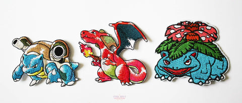 Blastoise, Charizard & Venusaur (First Gen Trio!) Pokemon Embroidery Patch Set-Embroidery Patch-Cool Spot's Gaming Emporium-Cool Spot Gaming