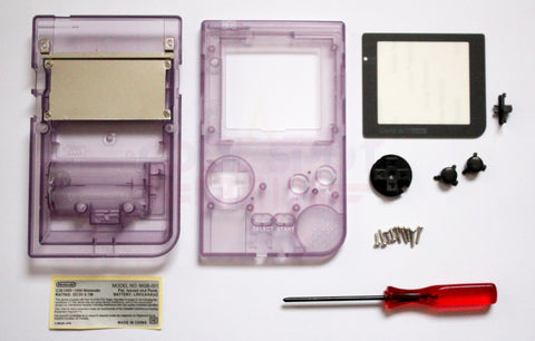 Game Boy Pocket Replacement Housing Shell Kit - Clear Purple