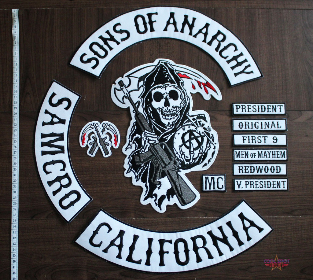 Sons of Anarchy 13 Piece Large Embroidered Patch Set (SAMCRO