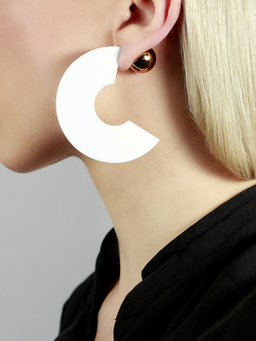 Taurus White Geometric Earrings