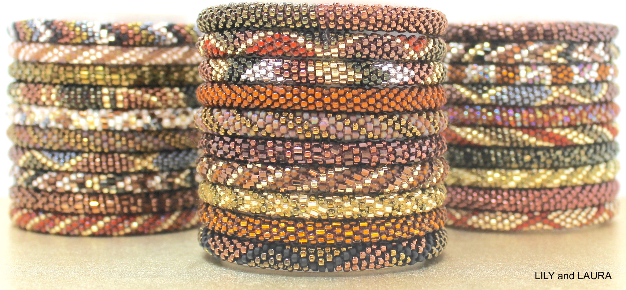 copper brown and bronze roll on bracelets