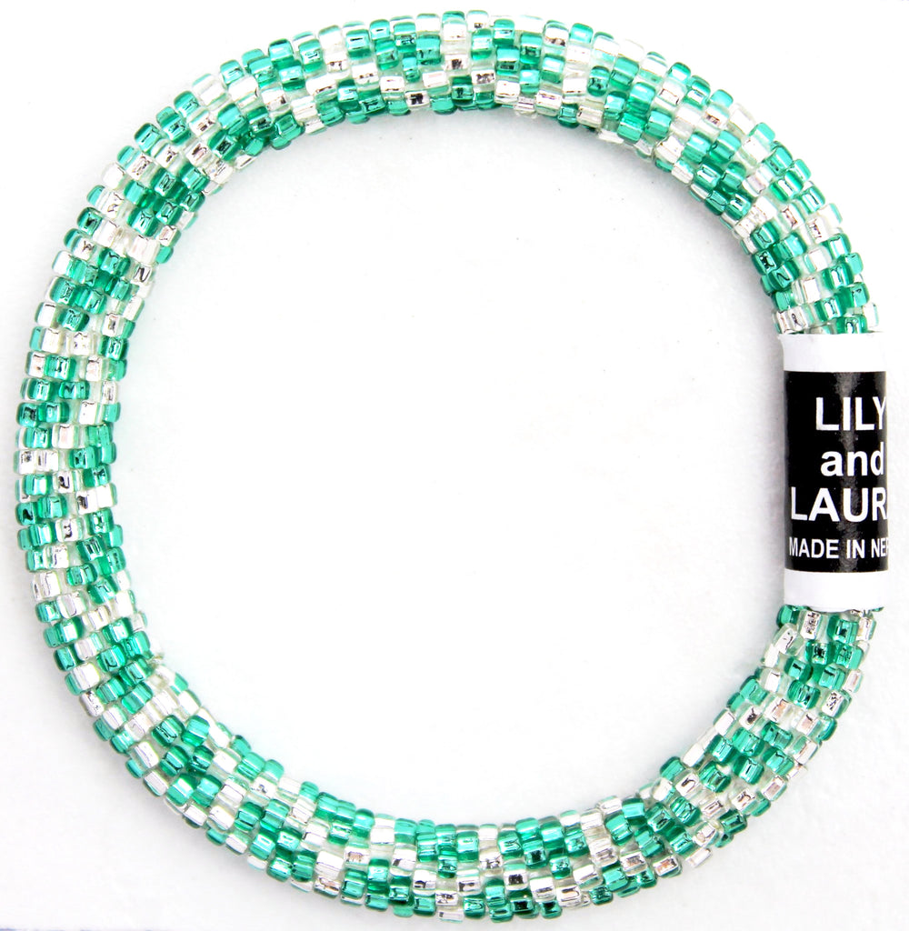 Green Teal and Silver Chain Link
