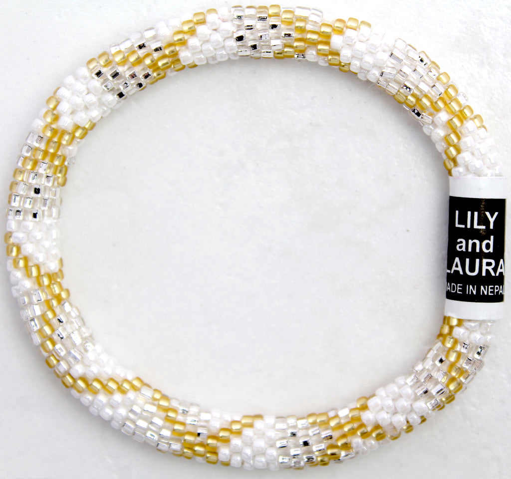 Matte Gold Criss Cross on White and Silver