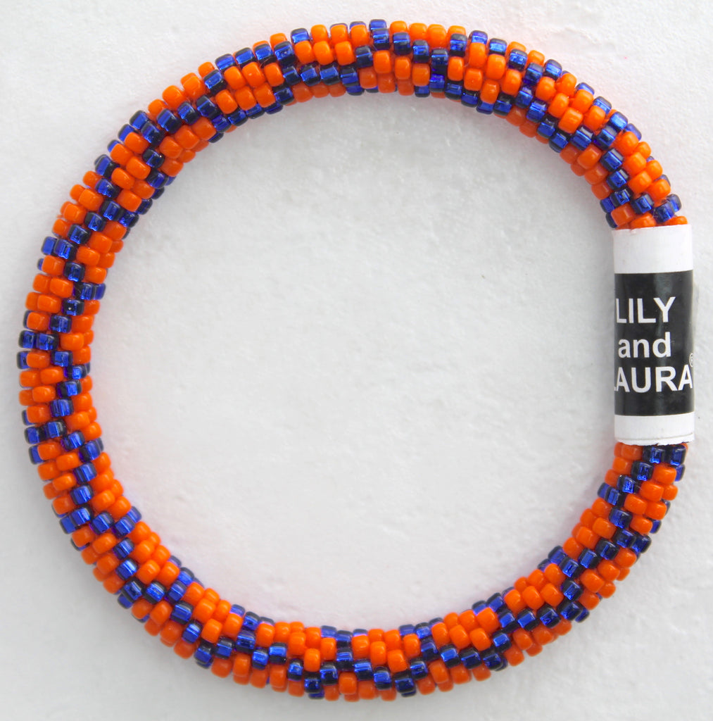 Lily and Laura Bright Orange And Royal Blue Chain Link