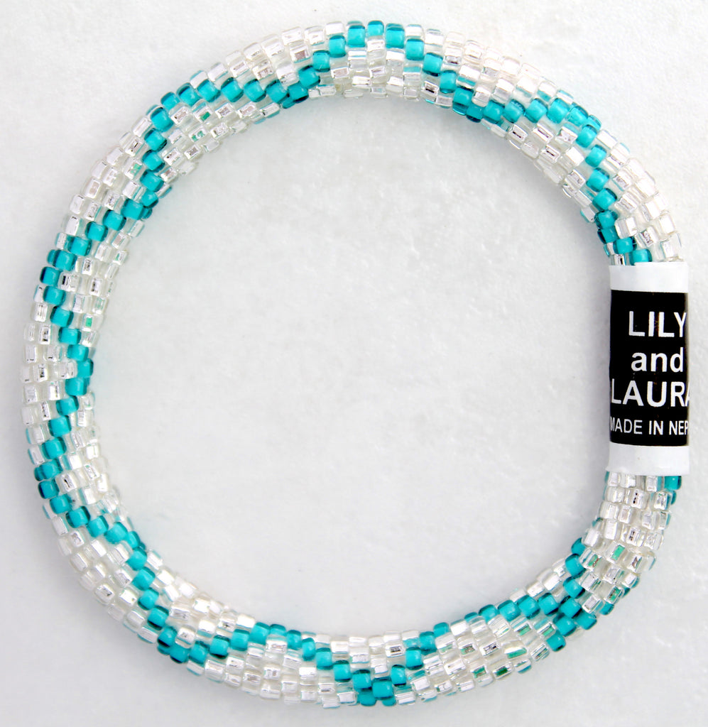 Teal Criss Cross On Silver