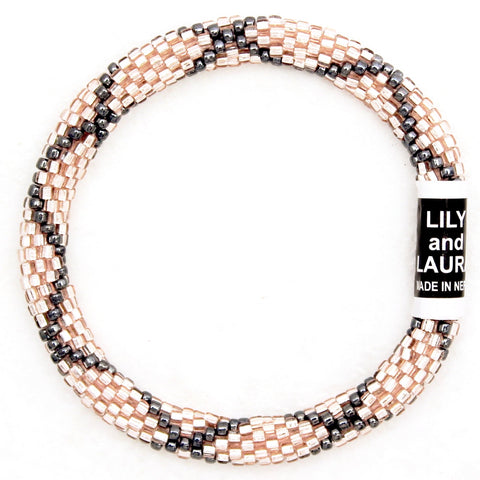 Rose Gold With Hematite Criss Cross