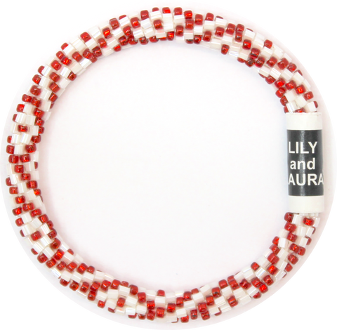 Red And White Spiraling Diamonds