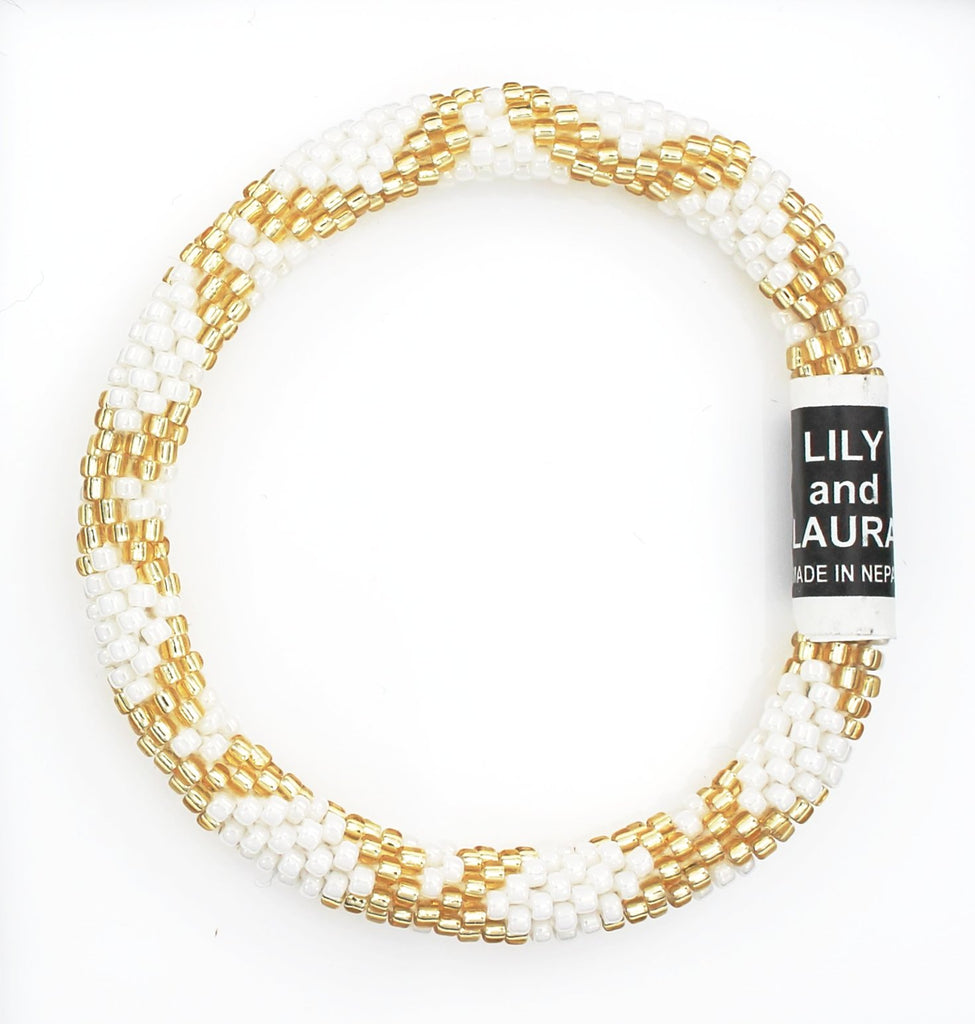 Double Gold Criss Cross on Pearl White