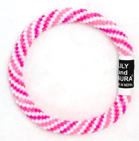 Lily and Laura Bright Pink Spirals