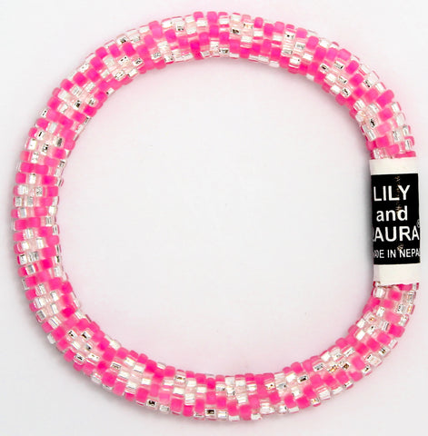 Lily and Laura Silver Chain Link on Lily Pink