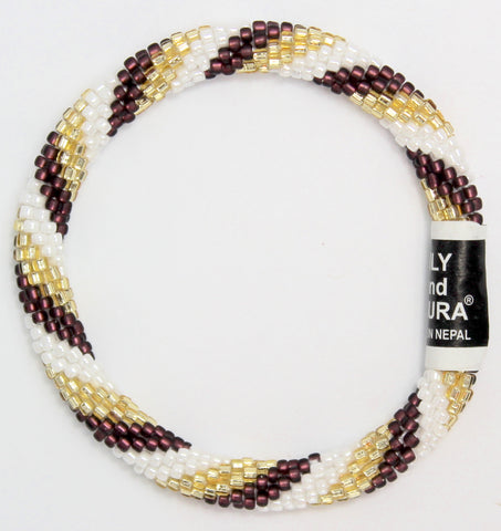Matte Maroon, Gold and White Spiral
