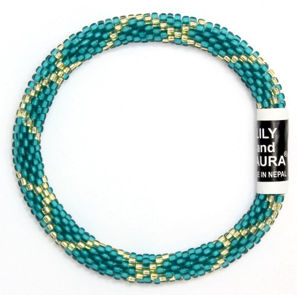 Gold Criss Cross on Matte Teal