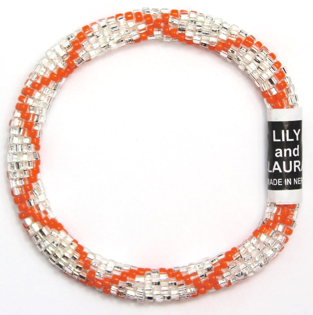 Bright Orange Criss Cross on Silver