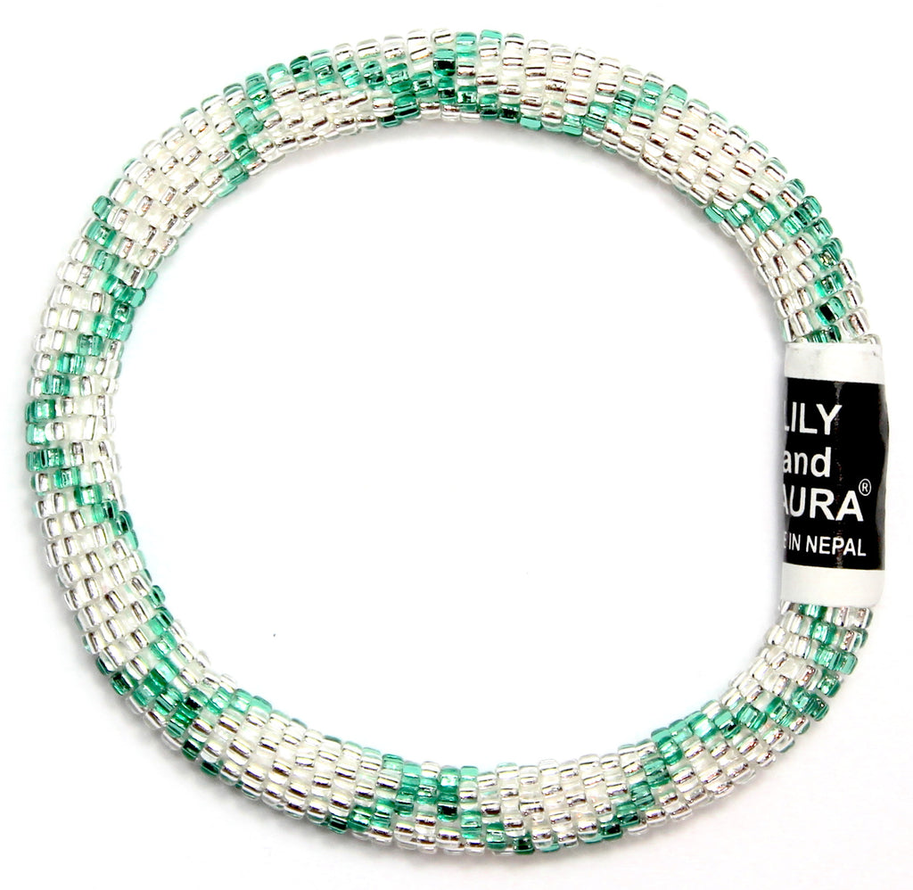 Green Teal Criss Cross in Silver