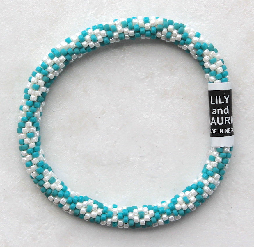 White Little Diamonds On Matte Turquoise